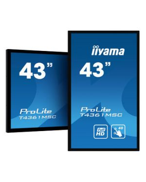 "iiyama - PROLITE T4361MSC-B1 43"" 40 point PCAP touch monitor with edge-to-edge glass"