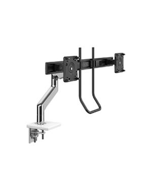 Humanscale - M10 MONITOR ARM WITH CROSSBAR AND HANDLE, TWO PIECE CLAMP MOUNT, POLISHED ALUMINIUM WITH WHITE TRIM