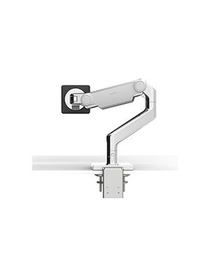 Humanscale M8.1 MONITOR ARM WITH TWO-PIECE CLAMP MOUNT BASE, POLISHED ALUMINIUM WITH WHITE TRIM