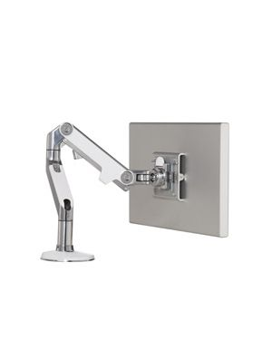Humanscale Polished Aluminum w White Trim M8 Monitor Arm (Manufacturer's SKU: M8CW1S)