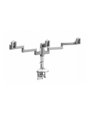Humanscale Polished Aluminum w White Trim M/Flex Monitor Arm (for 3 Monitor)  (Manufacturer's SKU: MF23W303C12)