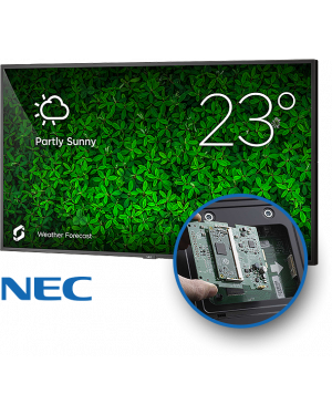 NEC V554 - 55 TFT LCD Large Format Display Incl Tilt Wall Mount, Raspberry Pi3 CM & Screenly Digital Signage Pre-Installed